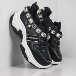 Γυναικεία μαύρα αθλητικά παπούτσια με στρασάκια Fashion&Bella