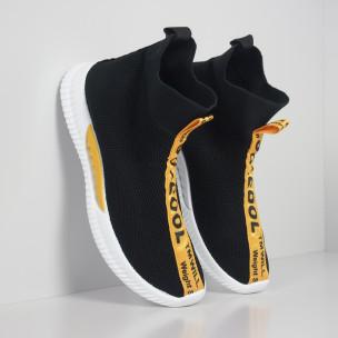 Ανδρικά slip-on μαύρα αθλητικά παπούτσια κάλτσα με κίτρινη επιγραφή