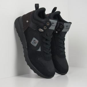 Ανδρικά μαύρα αθλητικά μποτάκια τύπου sneakers
