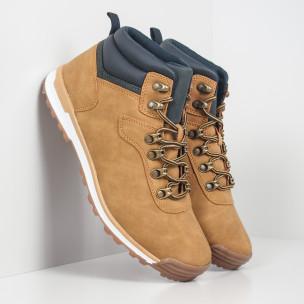Ανδρικά camel παπούτσια με λεπτομέρεια τύπου Hiker