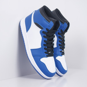 Ανδρικά ψηλά μπλε-λευκά sneakers