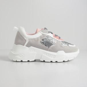 Γυναικεία αθλητικά παπούτσια σε γκρι και ροζ με Snake μοτίβο 2