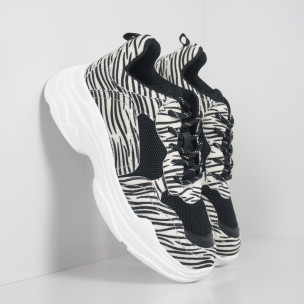 Chunky γυναικεία αθλητικά παπούτσια με μοτίβο ζέβρα