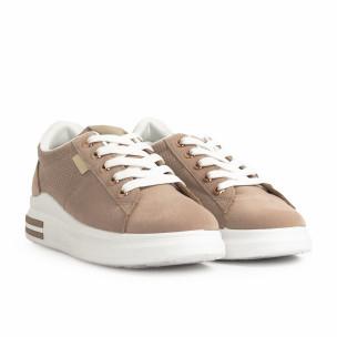 Γυναικεία μπεζ sneakers με χρυσές λεπτομέρειες Mix Feel 2