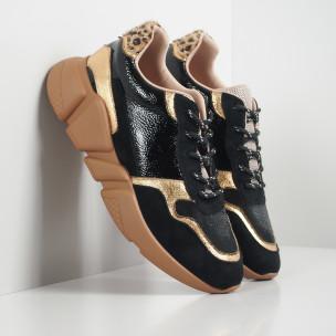 Γυναικεία μαύρα και χρυσά αθλητικά παπούτσια ελαφρύ μοντέλο