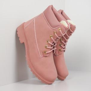 Γυναικεία ροζ μποτάκια με επένδυση