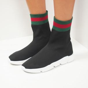 Γυναικεία  slip-on μαύρα αθλητικά παπούτσια τύπου κάλτσα με ρίγες