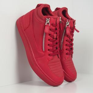 Ανδρικά κόκκινα sneakers με Shagreen design