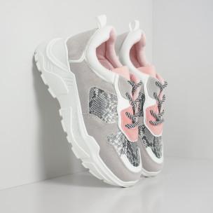 Γυναικεία αθλητικά παπούτσια σε γκρι και ροζ με Snake μοτίβο