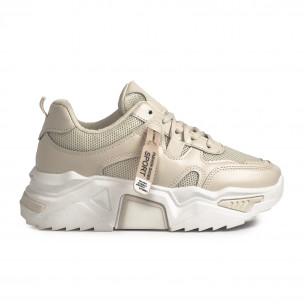 Γυναικεία μπεζ sneakers Chunky
