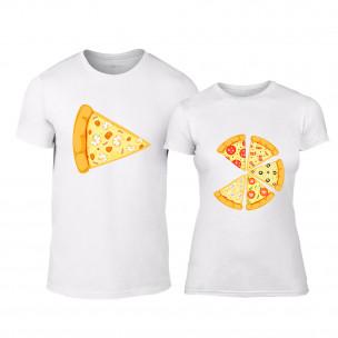 Μπλουζες για ζευγάρια Pizza λευκό