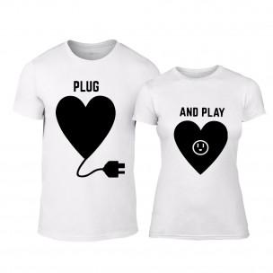 Μπλουζες για ζευγάρια Plug And Play λευκό
