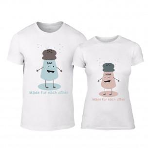 Μπλουζες για ζευγάρια Salt and Pepper λευκό