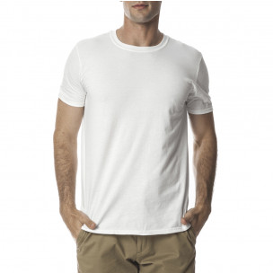 Ανδρική λευκή κοντομάνικη μπλούζα Basic