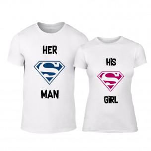 Μπλουζες για ζευγάρια Superman Supergirl λευκό