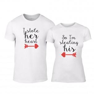 Μπλουζες για ζευγάρια Stolen Hearts λευκό