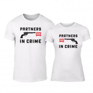 Μπλουζες για ζευγάρια Partners in Crime λευκό