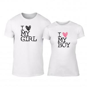 Μπλουζες για ζευγάρια Love My Girl Love My Boy λευκό