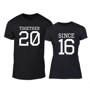 Μπλουζες για ζευγάρια Together Since 2016 μαύρο