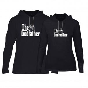 Φούτερ για ζευγάρια Godfather & Godmother μαύρο