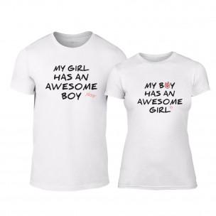 Μπλουζες για ζευγάρια The Awesome Boy & Girl λευκό