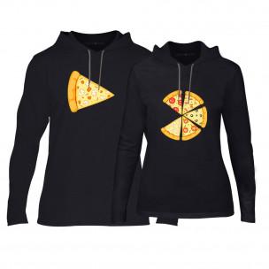 Φούτερ για ζευγάρια Pizza μαύρο