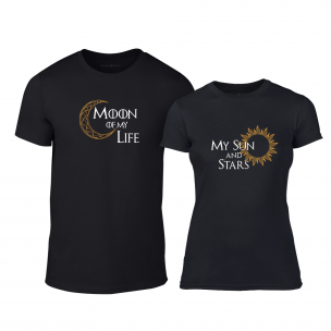 Μπλουζες για ζευγάρια Sun & Moon μαύρο