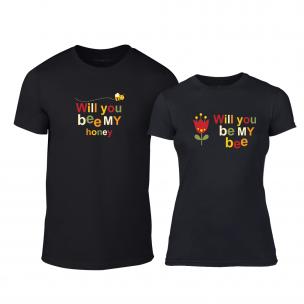 Μπλουζες για ζευγάρια Bee & Honey μαύρο