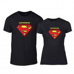 Μπλουζες για ζευγάρια Superman & Supergirl μαύρο