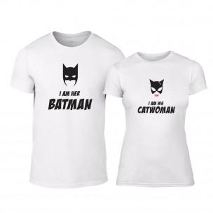 Μπλουζες για ζευγάρια I'm Her Batman I'm His Catwoman λευκό