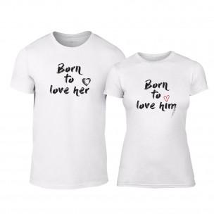 Μπλουζες για ζευγάρια Born To Love λευκό