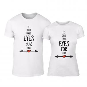 Μπλουζες για ζευγάρια Eyes for You λευκό TEEMAN