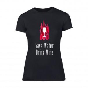 Γυναικεία Μπλούζα Save Water Drink Wine μαύρο