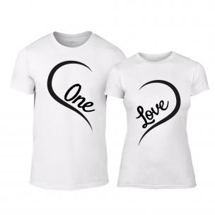 Μπλουζες για ζευγάρια One Love λευκό