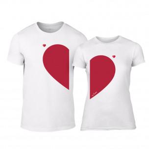 Μπλουζες για ζευγάρια Half Heart λευκό