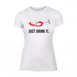 Γυναικεία Μπλούζα Just Drink It λευκό