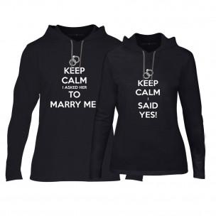 Φούτερ για ζευγάρια Keep Calm μαύρο