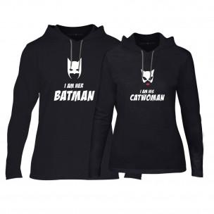 Φούτερ για ζευγάρια Batman & Catwoman μαύρο
