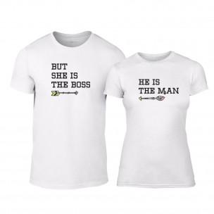 Μπλουζες για ζευγάρια The Man & The Bossy λευκό