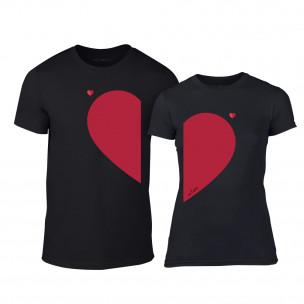 Μπλουζες για ζευγάρια Half Heart μαύρο