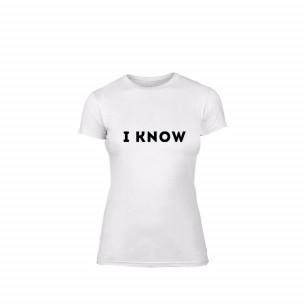Γυναικεία Μπλούζα I know λευκό Χρώμα Μέγεθος XL