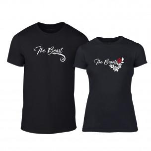 Μπλουζες για ζευγάρια Тhe Beauty & The Beast μαύρο