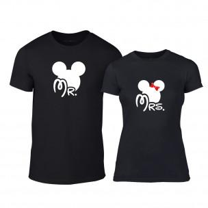 Μπλουζες για ζευγάρια Mr. Mickey Mrs. Minnie μαύρο