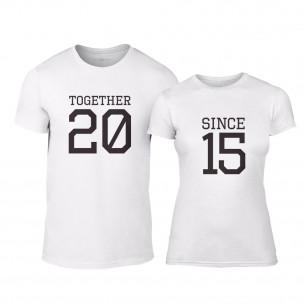 Μπλουζες για ζευγάρια Together Since 2015 λευκό