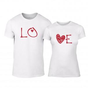 Μπλουζες για ζευγάρια LOVE λευκό