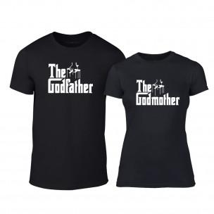 Μπλουζες για ζευγάρια Godfather & Godmother μαύρο