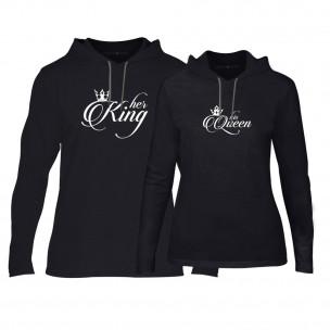 Φούτερ για ζευγάρια King & Queen μαύρο