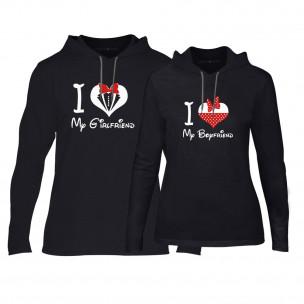 Φούτερ για ζευγάρια Mickey & Minnie Love μαύρο