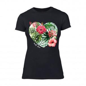Γυναικεία Μπλούζα Exotic Flowers μαύρο