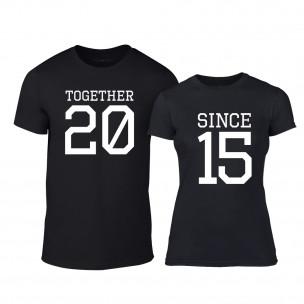 Μπλουζες για ζευγάρια Together Since 2015 μαύρο